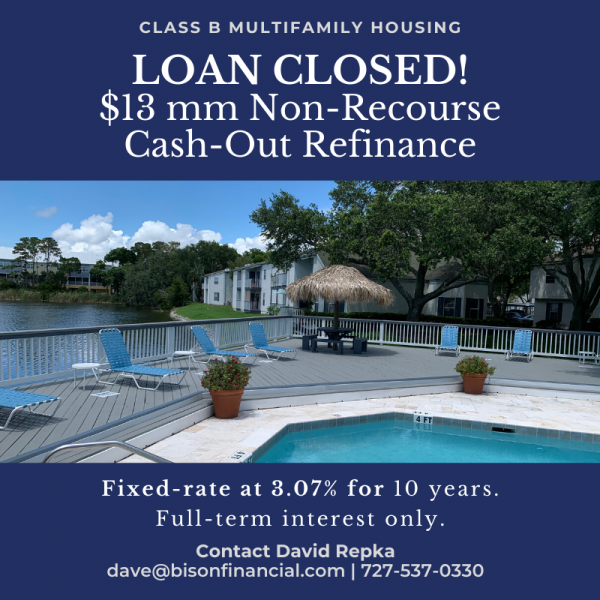 $13 Million Cash Out Refinance Loan on Florida Multifamily