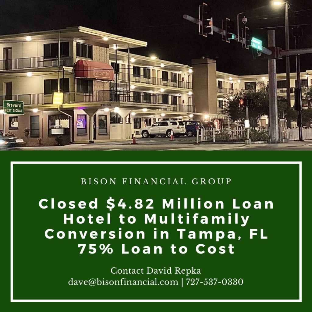 Bison Closes $4.82 Million Acquisition Loan for Hotel to Multifamily Conversion