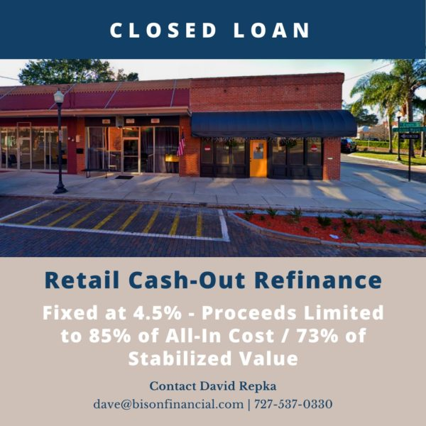 Bison Closes Retail Cash-Out Refinance Fixed at 4.5%